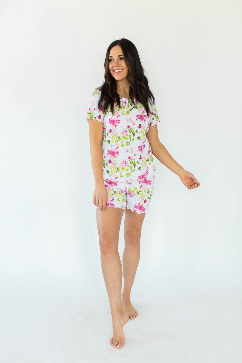 Watercolor Floral Print Gauze Short Set in White with All-Over Pink & Green Watercolor Floral Print