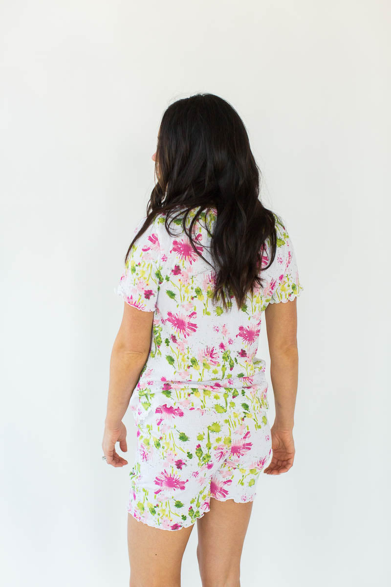 Back View of Watercolor Floral Print Gauze Short Set in White with All-Over Pink & Green Watercolor Floral Print