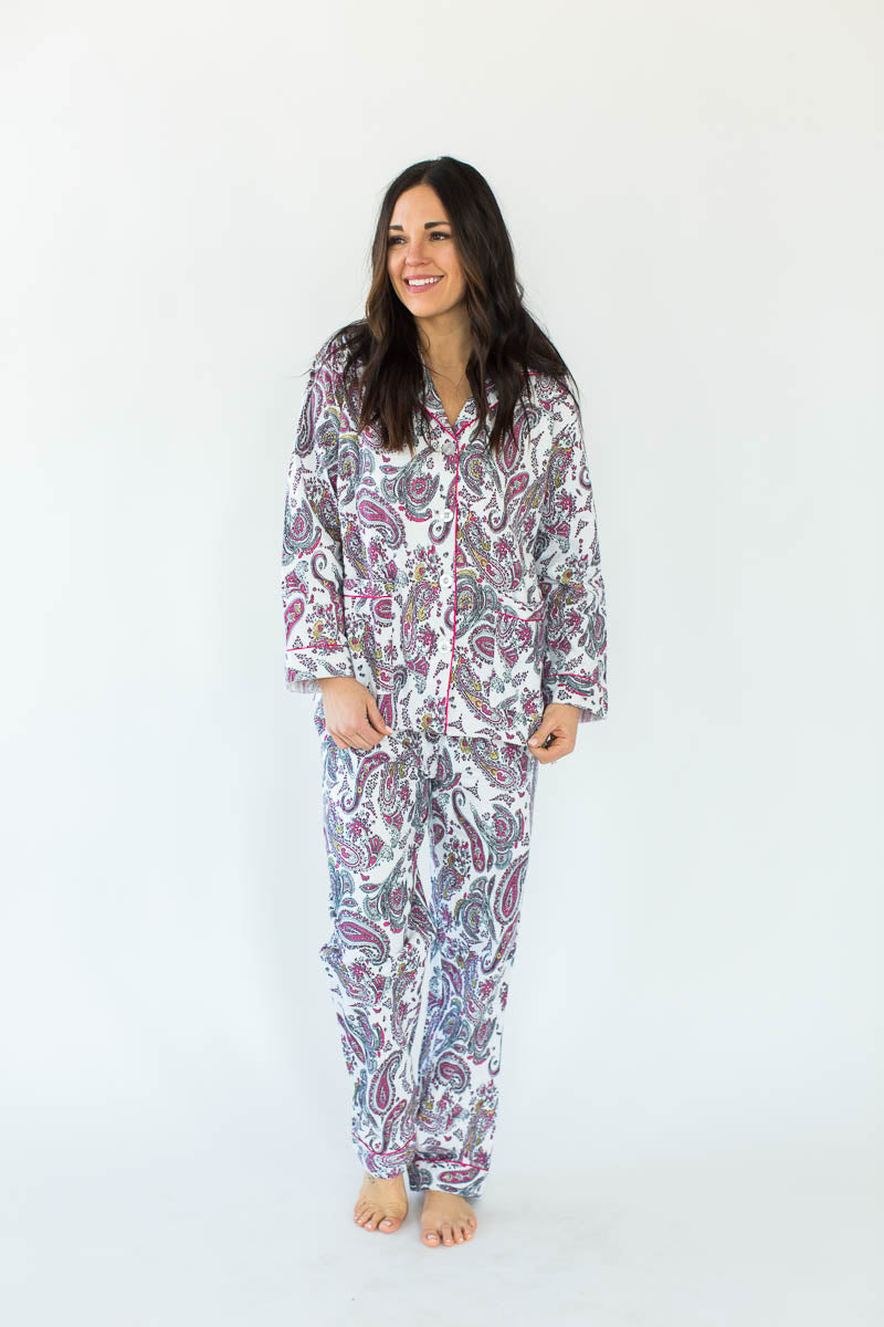 Gold Foil Paisley Classic Flannel Pajamas in White with All-Over Pink, Black, & Subtle Gold Paisley Design in a Matching Long-Sleeved Top & Pant Bottom
