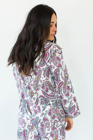 Back View of Gold Foil Paisley Classic Flannel Pajamas in White with All-Over Pink, Black, & Subtle Gold Paisley Design in a Matching Long-Sleeved Top & Pant Bottom
