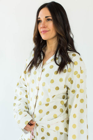 Gold Dot Printed Flannel Pajama Set in White with All-Over Gold Dots in a Matching Long-Sleeved Top & Pant Bottom