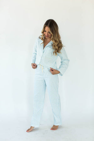Blue Gingham Flannel Pajama Set -  Made from 100% super soft Cotton flannel, they feature a button front shirt with convenient front pockets, matching pants with an adjustable drawstring waistline, super soft handfeel, and vibrant blue print