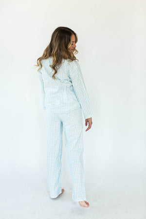 Blue Gingham Flannel Pajama Set