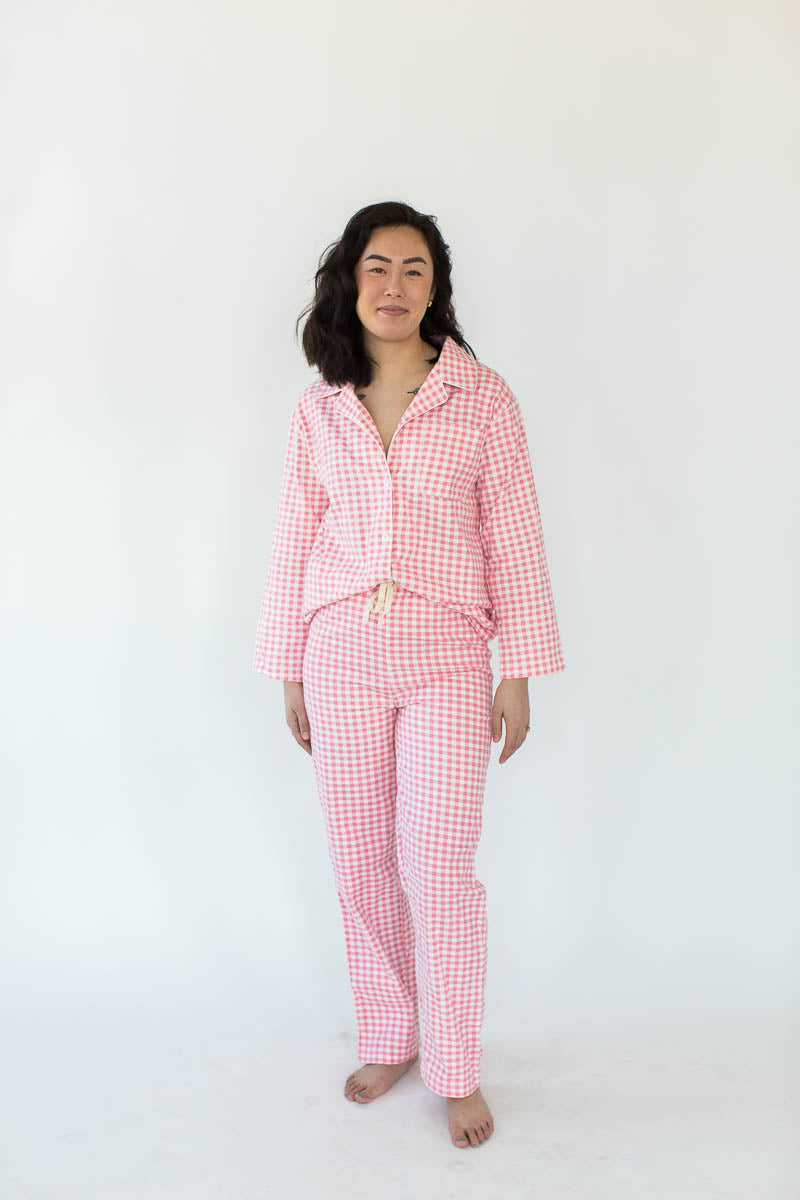 Pink Gingham Flannel Pajama Set