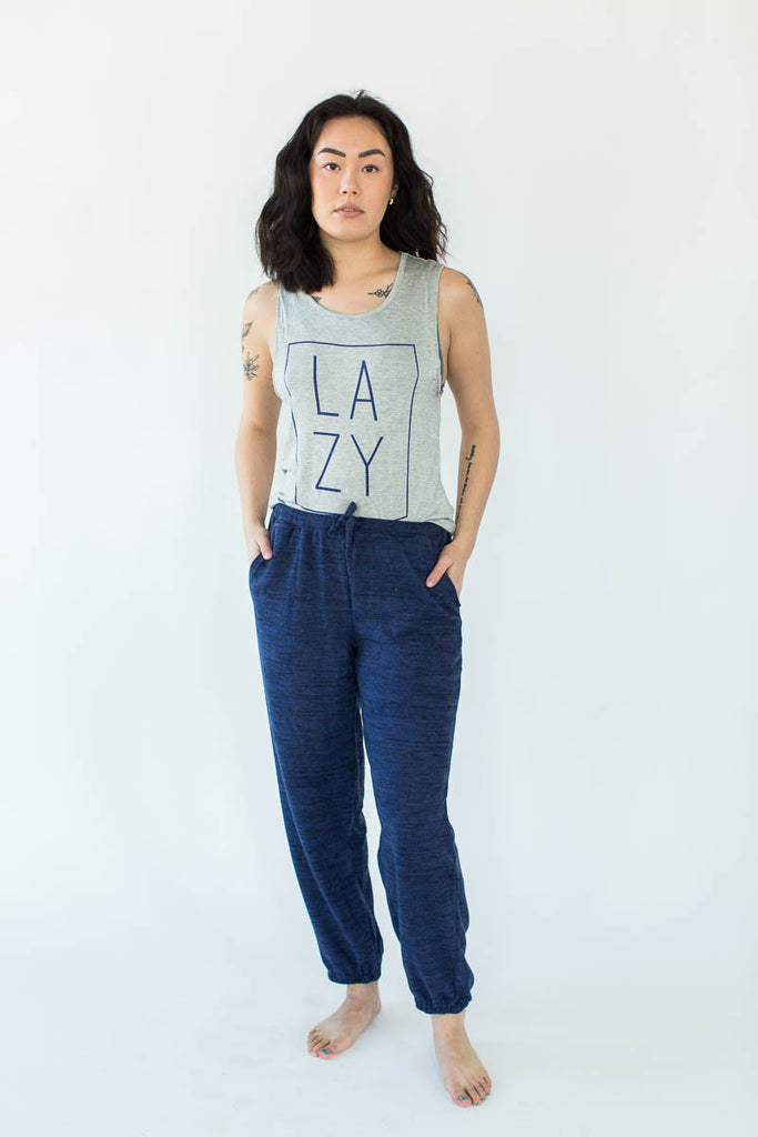 Outlined LA ZY Lounge Tank & Weekend Fleece Jogger Set in Heather Gray & Navy (Heather Gray Top with Square Navy Outline around a Navy LA ZY Text with Matching Navy Jogger)