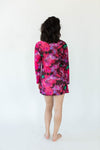 Back View of Abstract Paint Printed Nightgown in Red with All-Over Brush Stroke Inspired Print that Falls Just Above the Knee