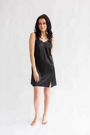Luxurious Satin Chemise in Black