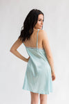 Luxurious Satin Chemise in Cool Blue