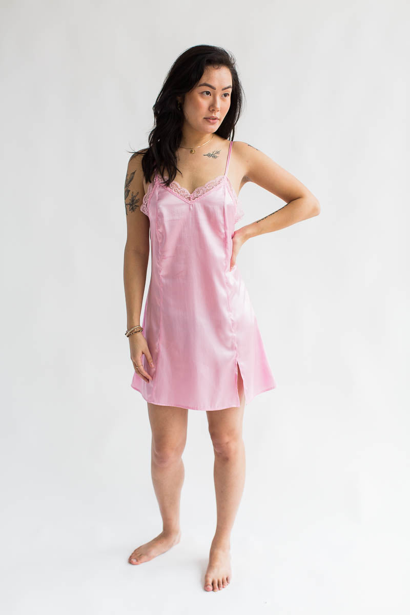 Luxurious Satin Chemise in Powder Pink