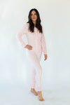 Ikat Leopard Minky Fleece Women's Onesie in Light Pink & White