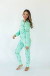 Sleepy Kitty Minky Fleece Onesie in Mint Green with All-Over Sleepy Kitty Print