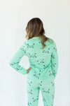 Back View of Sleepy Kitty Minky Fleece Onesie in Mint Green with All-Over Sleepy Kitty Print