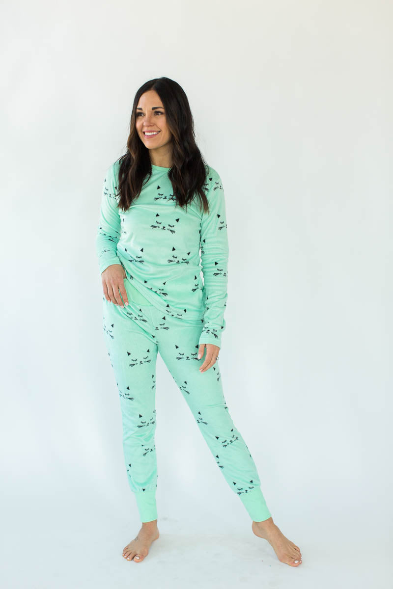 Sleepy Kitty Minky Fleece Tight Fit Set in Mint Green with All-Over Sleepy Kitty Print