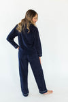 Back View of Baby Fleece Classic PJ Set in Navy - Bottoms Feature a Drawstring & the Matching Button Down, Collared Top Includes a Chest Pocket and Contrast White Piping Throughout