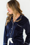 Baby Fleece Classic PJ Set in Navy - Bottoms Feature a Drawstring & the Matching Button Down, Collared Top Includes a Chest Pocket and Contrast White Piping Throughout