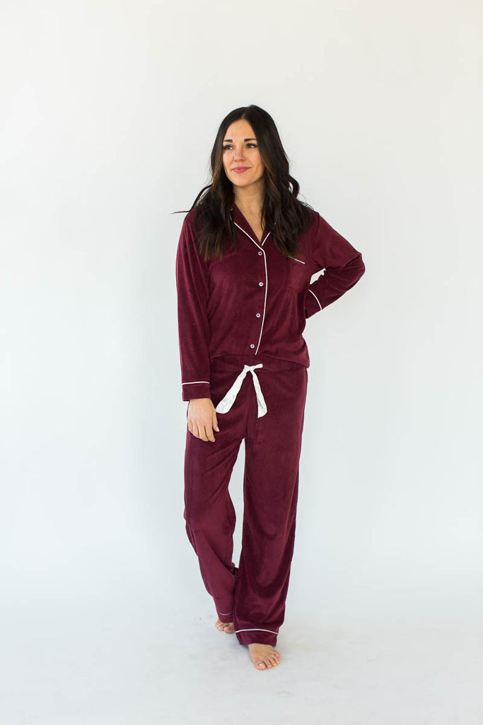 Baby Fleece Classic PJ Set in Wine - Bottoms Feature a Drawstring & the Matching Button Down, Collared Top Includes a Chest Pocket and Contrast White Piping Throughout