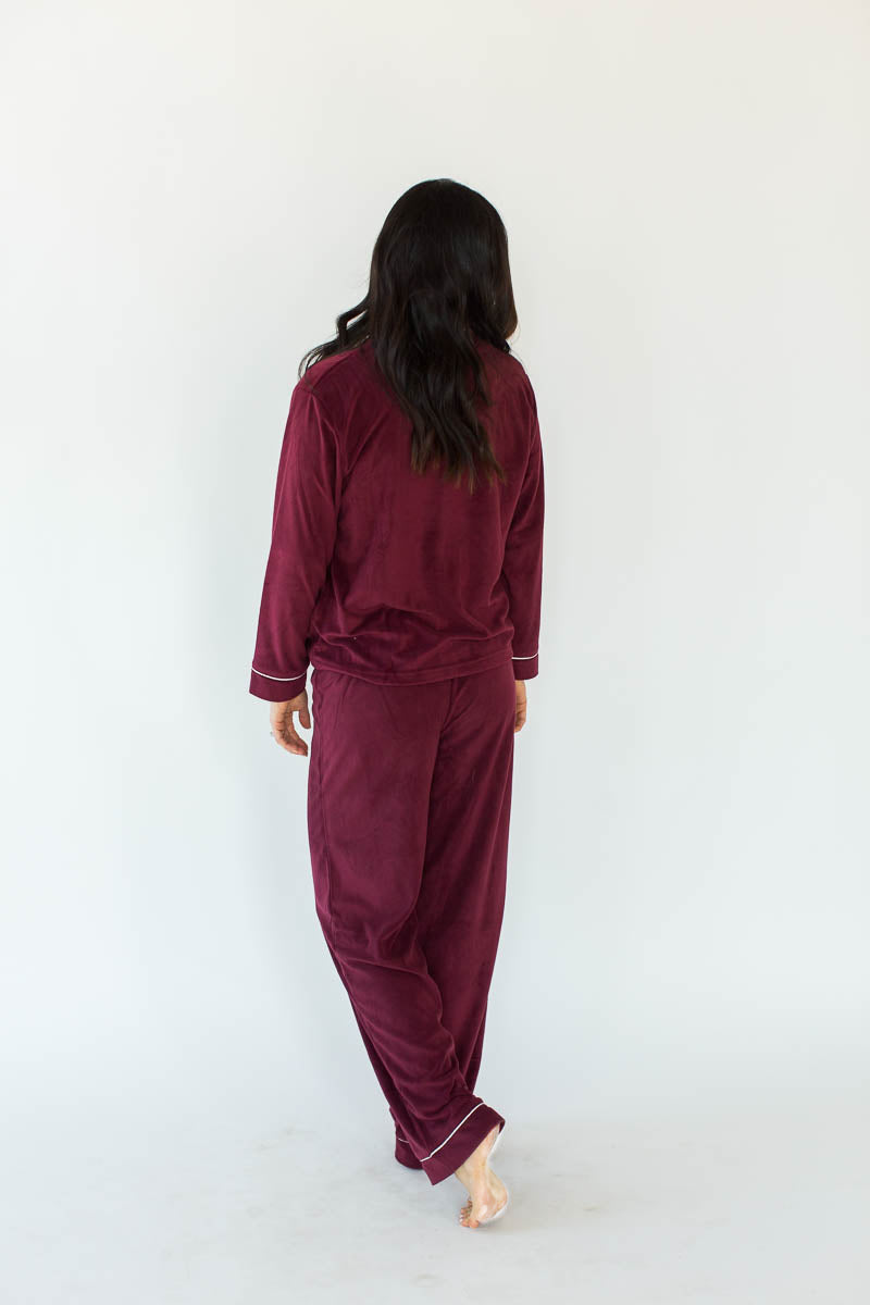 Baby Fleece Classic PJ Set in Wine
