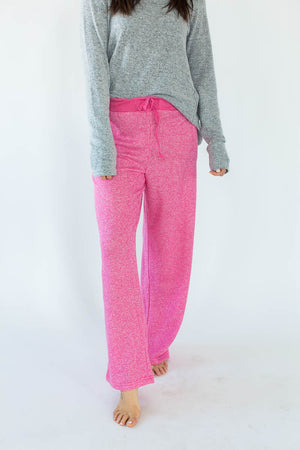 Sweatshirt Knit Lounge Pants in Heather Pink with Solid Heather Pink Waistband & Matching Drawstring