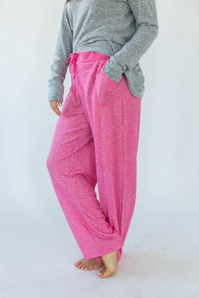 Side View of Sweatshirt Knit Lounge Pants in Heather Pink with Solid Heather Pink Waistband & Matching Drawstring