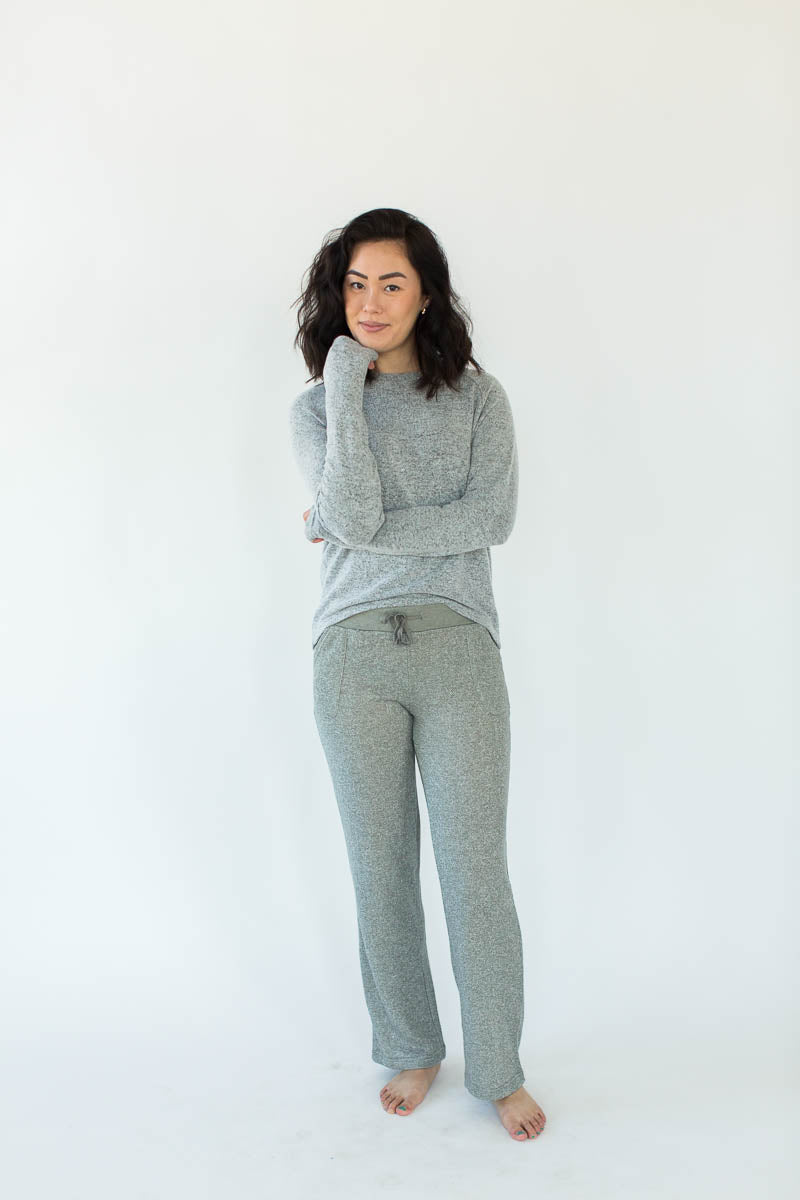 Sweatshirt Knit Lounge Pants in Heather Gray with Solid Heather Gray Waistband & Matching Drawstring