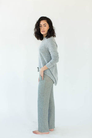Side View of Sweatshirt Knit Lounge Pants in Heather Gray with Solid Heather Gray Waistband & Matching Drawstring