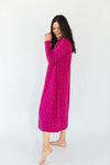 Knit Jersey Tiny Bouquet Nightgown in Fuchsia Pink with an All-Over Floral Print Design