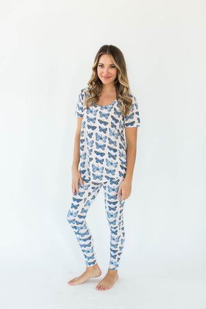 Pink Butterfly Printed Tee and Legging Pajama Set in White with All-Over Blue Butterfly Print Design