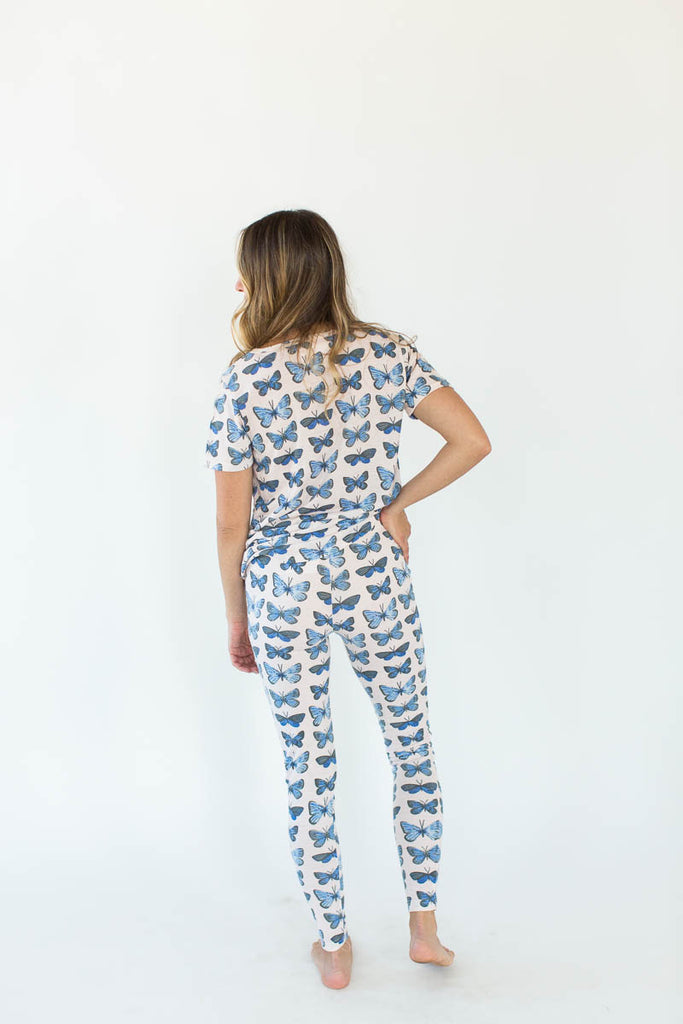 Back View of Pink Butterfly Printed Tee and Legging Pajama Set in White with All-Over Blue Butterfly Print Design