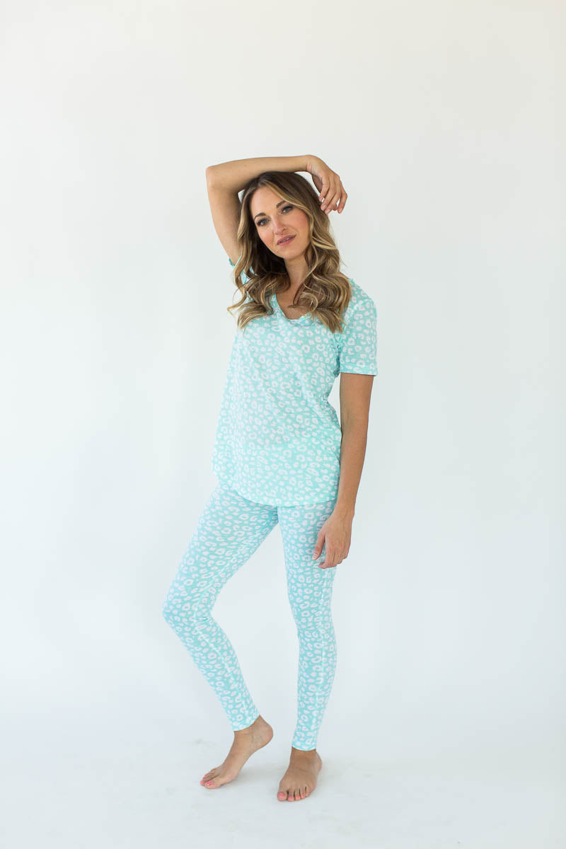 Aqua Leopard Printed V-Neck Tee with Matching Legging Pajama Set