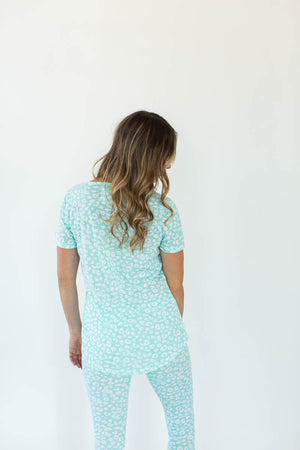 Back View of Aqua Leopard Printed V-Neck Tee with Matching Legging Pajama Set