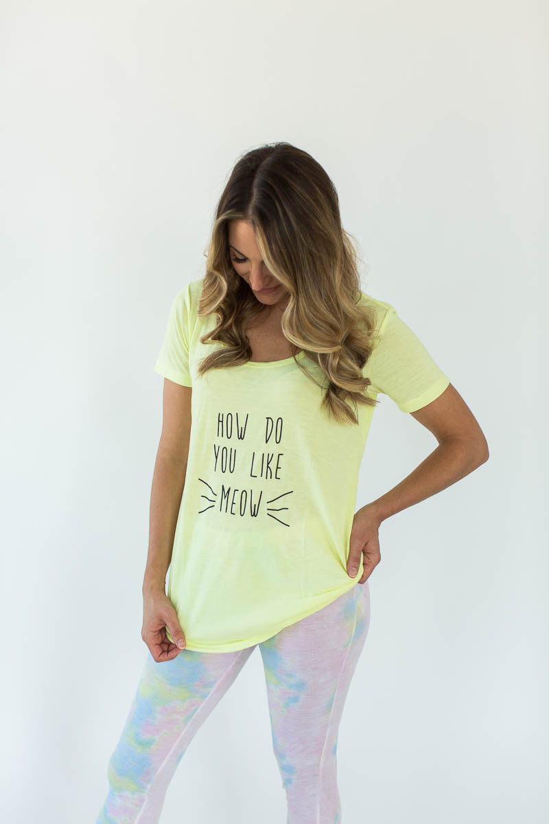 """How Do You Like Meow?"" Printed Tee and Pastel Tie-Dye Legging Pajama Set"