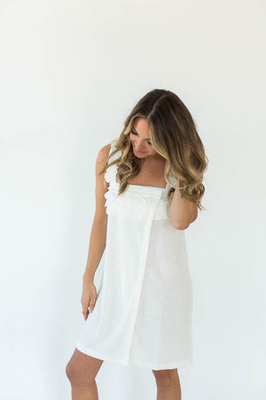 Knit Terry Ruffle Wrap in Bright White with Thin Shoulder Straps