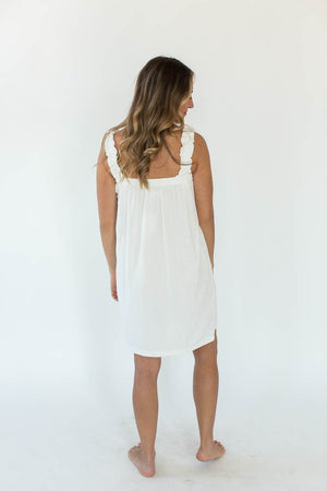 Back View of Knit Terry Ruffle Wrap in Bright White with Thin Shoulder Straps