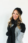 Winter Sparkle Gift Set in Black that Features a Matching Sparkly Black Hat, Scarf, and Gloves