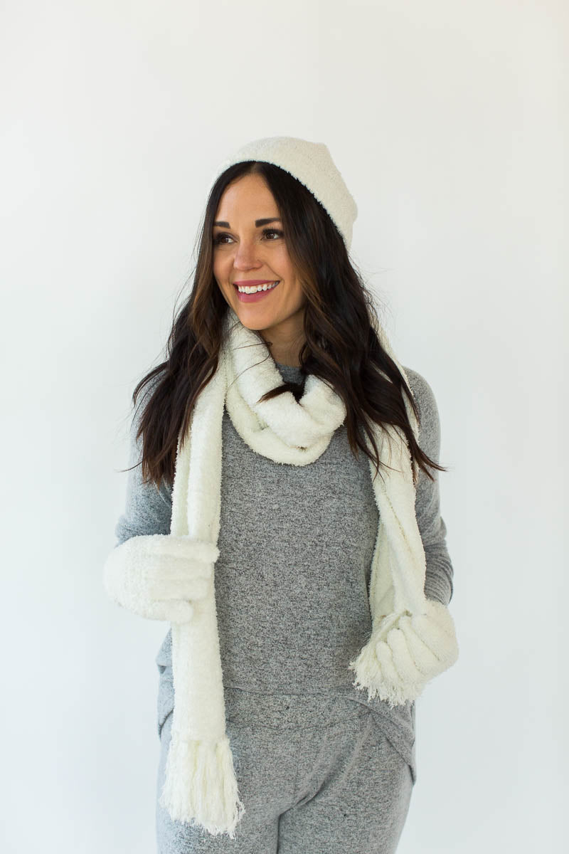 Winter Sparkle Gift Set in Cream that Features a Matching Sparkly Cream Hat, Scarf, and Gloves