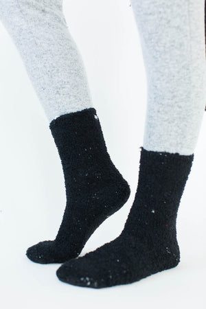 Cozy Sparkle Gift Set in Black that Features a Sparkly, Black Blanket Wrap with Matching Black Socks