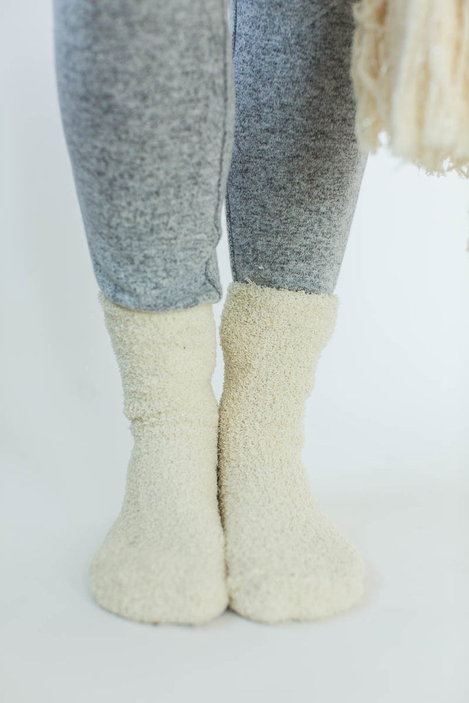 Cozy Sparkle Gift Set in Cream that Features a Sparkly, Cream Blanket Wrap with Matching Cream Socks