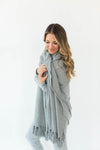 Cozy Sparkle Gift Set in Gray that Features a Sparkly, Gray Blanket Wrap with Matching Gray Socks