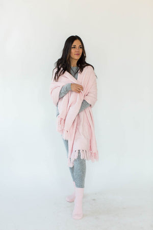 Cozy Sparkle Gift Set in Light Pink that Features a Sparkly, Light Pink Blanket Wrap with Matching Light Pink Socks