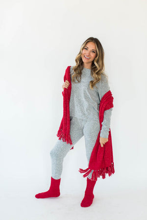 Cozy Sparkle Gift Set in Red that Features a Sparkly, Red Blanket Wrap with Matching Red Socks