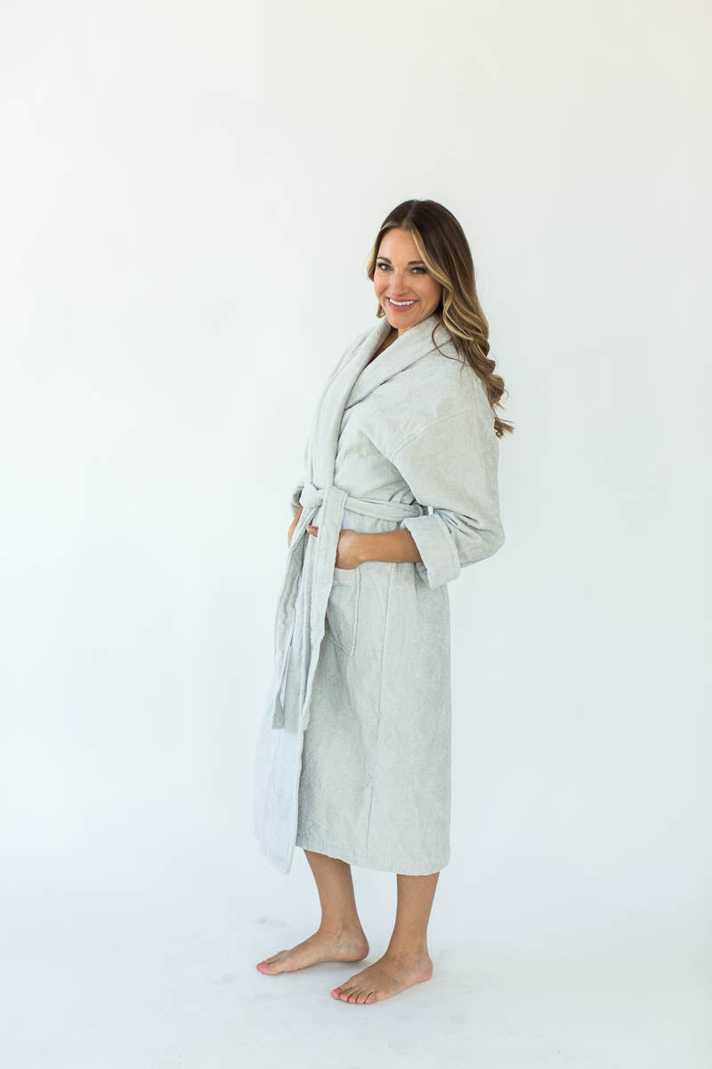 Terry Loop Long Bathrobe in Glacier Gray that Falls Below the Knees & Features an Adjustable Waist Wrap