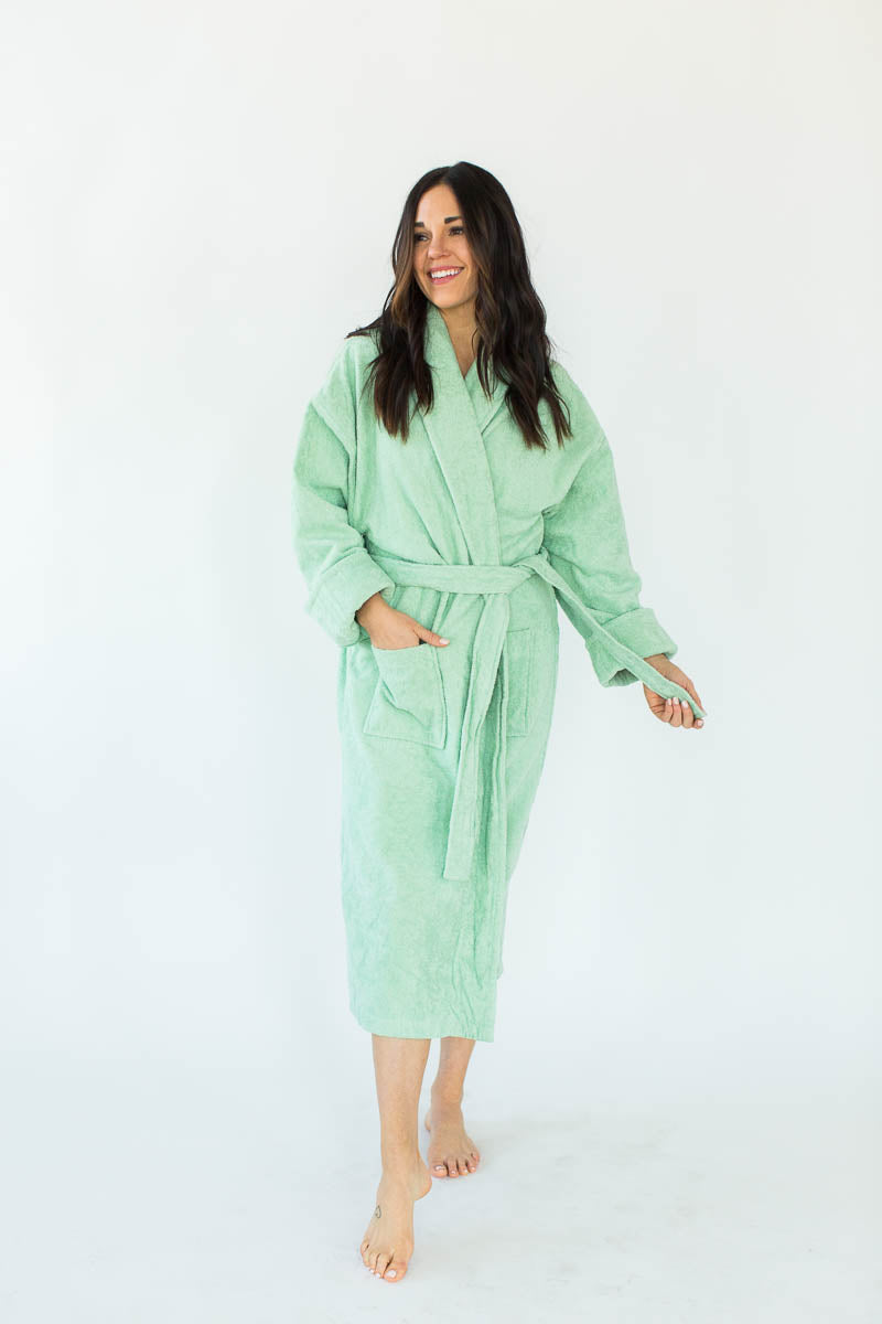 Terry Loop Long Bathrobe in Jade that Falls Below the Knees & Features an Adjustable Waist Wrap