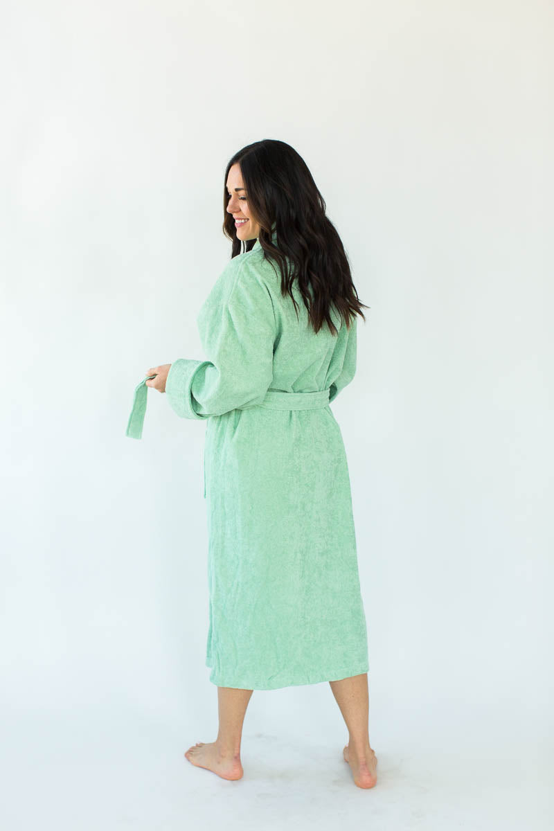 Back View of Terry Loop Long Bathrobe in Jade that Falls Below the Knees & Features an Adjustable Waist Wrap