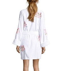 Owl Applique Short Terry Loop Bathrobe