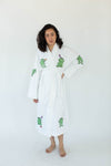 Happy Frog Applique Long Terry Loop Bathrobe in Bright White with All-Over Green Happy Frog Appliques that Falls Below the Knees & Features a Thick, Adjustable Waist Wrap