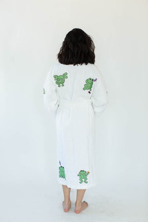 Back View of Happy Frog Applique Long Terry Loop Bathrobe in Bright White with All-Over Green Happy Frog Appliques that Falls Below the Knees & Features a Thick, Adjustable Waist Wrap