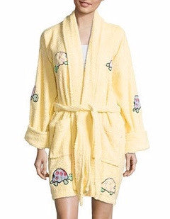 Yurtle the Turtle Applique Short Terry Loop Bathrobe