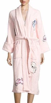 611-6219L - Playful Puppies Appliqued Terry Bathrobe in Light Pink