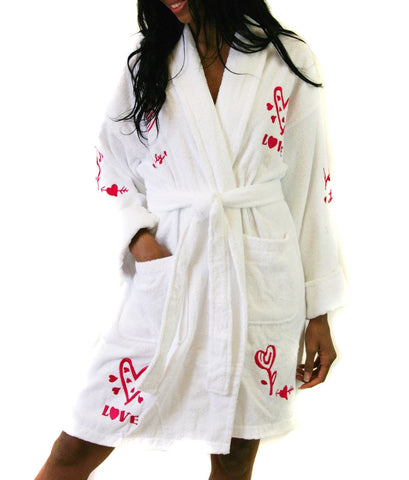 611-6223 - Lovely Script Embroidered Terry Bathrobe in White
