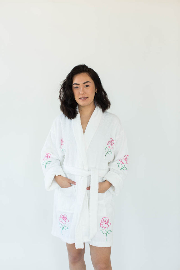 Rose Applique Short Terry Loop Bathrobe in Bright White with All-Over Colored Rose Appliques that Falls Just Above the Knees & Features an Adjustable Waist Wrap